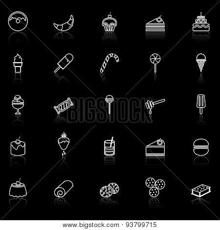 Dessert Line Icons With Reflect On Black
