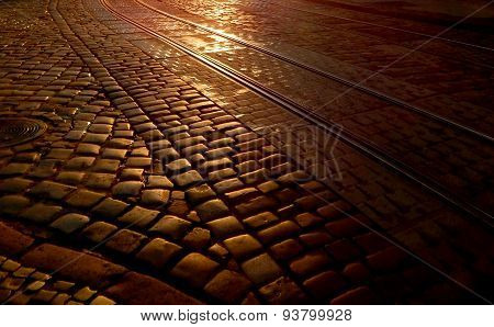 Paving stone at dawn, background