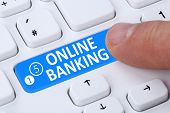 Internet online banking financial transaction push button paying on computer poster