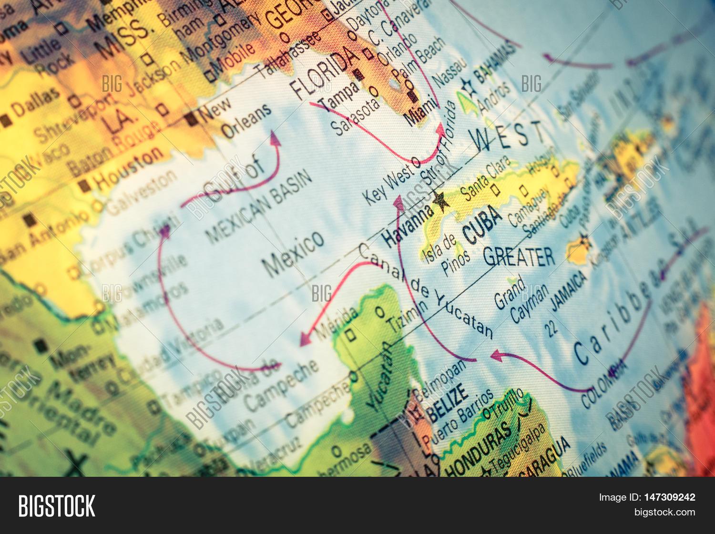 Cuba To Florida Map.Map Cuba Florida Close Image Photo Free Trial Bigstock