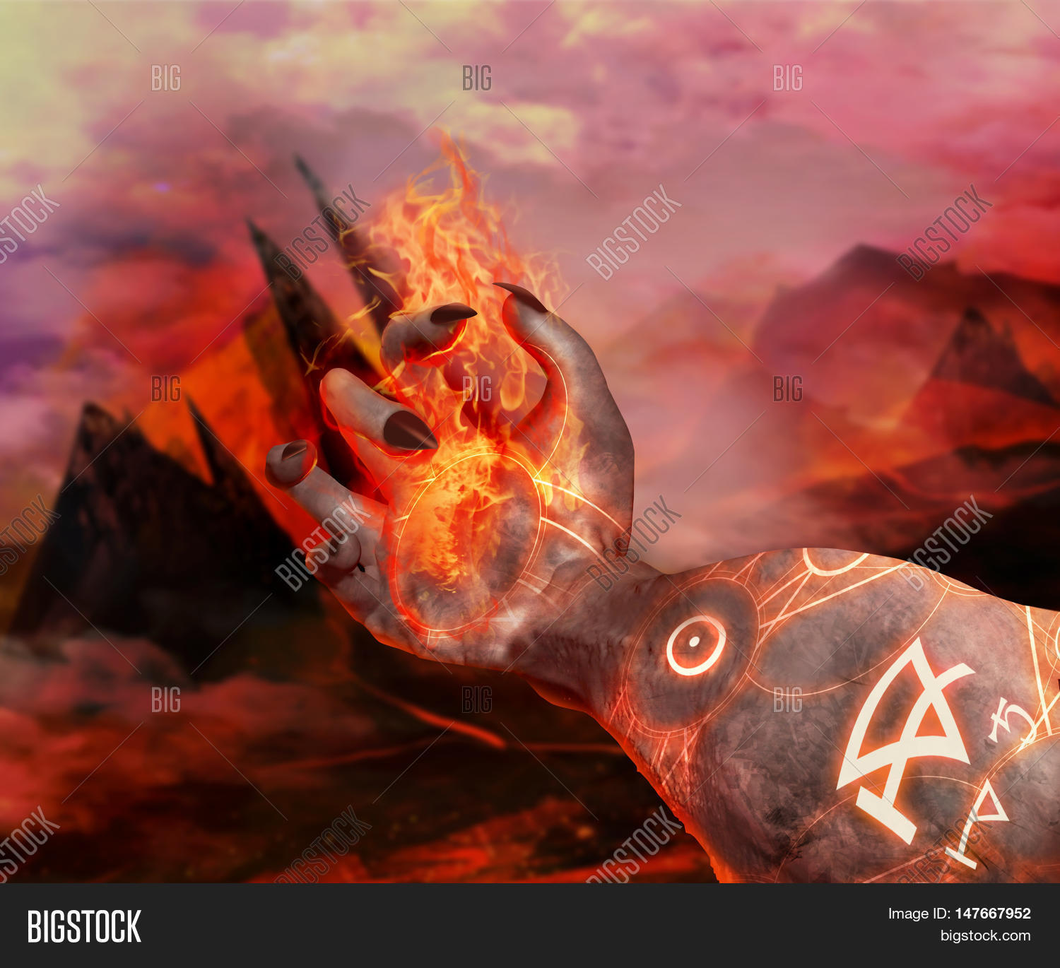 3D Illustration Of A Demonic Hand Holding Fire 3d First Person View With