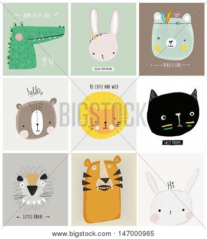 cartoon animal set