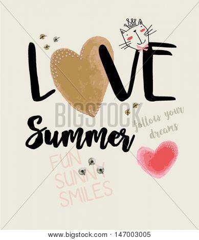 type heart love cat summer illustration