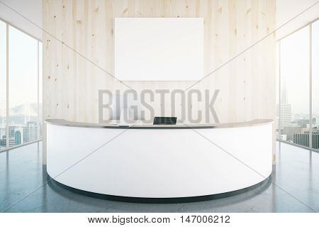 Modern white reception desk with blank banner in interior with wooden wall shiny floor and panoramic windows with city view. Mock up 3D Rendering