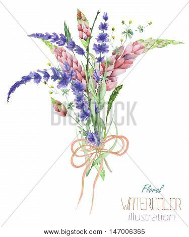 An illustration with a bouquet of the beautiful watercolor bright lupine flowers and lavender flowers, isolated hand-drawn in a watercolor on a white background