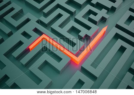 Top view of illuminated red arrow going through abstract dark maze. Success concept. 3D Rendering