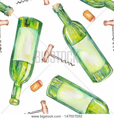 A seamless pattern with the wine watercolor hand-drawn elements: wine bottles, wine corks and a corkscrew. Painted on a white background.