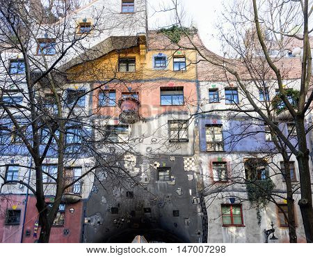 Hundertwasser house with colorful facade in Vienna, Austria