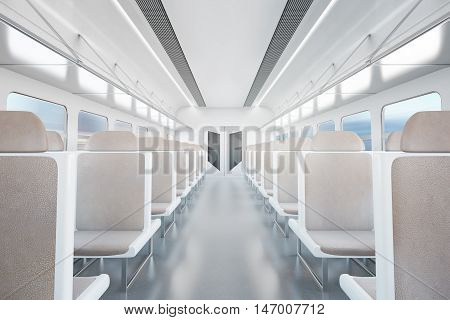 Empty passenger train interior with beige seats. 3D Rendering