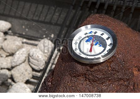 Thermometer On Pork, Bbq Grill