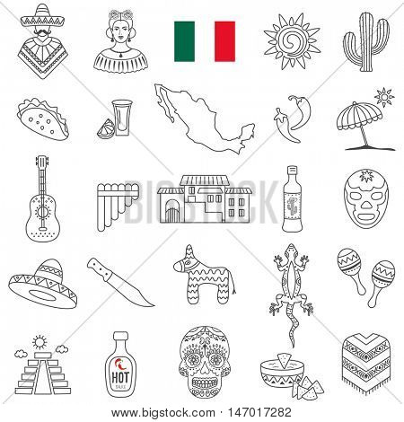 Mexico travel  line icons and culture symbols. Vector set