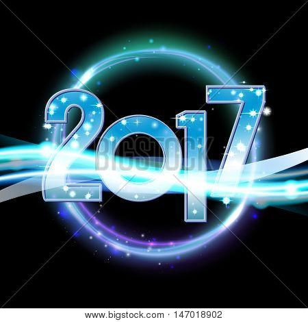 Vector 2017 Happy New Year background with neon light sparcles.