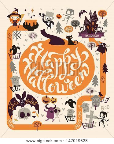 Halloween Party Design template, with the hand drawn lettering within a pumpkin. Fairy map location with the graveyard, cute zombies, ghosts and skeletons and trees on a background.