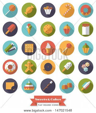 Collection of candy, sweets, cookies and cakes flat design long shadow round icons