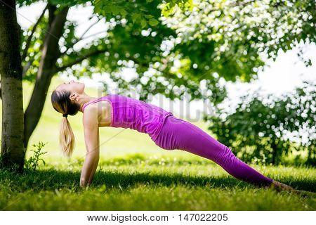 Healthy life exercise concept - Woman doing Hatha yoga asana Purvottanasana plank pose outdoors