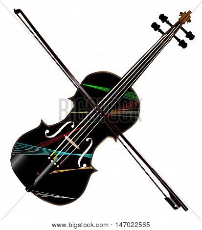 A typical violin with lazer light pattern with bow isolated over a white background