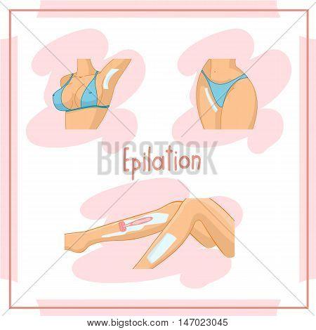 Illustration of the depilate body parts, bikini area, legs, armpits