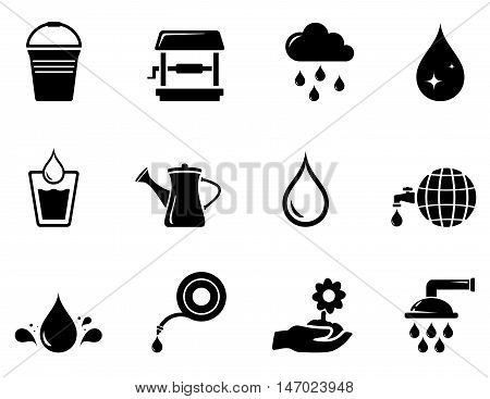 set of isolated watering black icons on white background