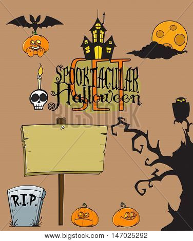 Hand Drawn Halloween isolated Set. Best for your own posters, flyers, promos, cards, invitations, placards, pamphlets - vector
