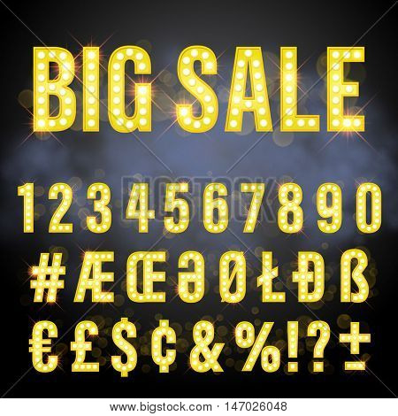 Light retro signboard lamp bulb letter set. Big Sale lettering of vegas casino style. Gold neon sparkling glitter special letters, numbers, sign and symbol