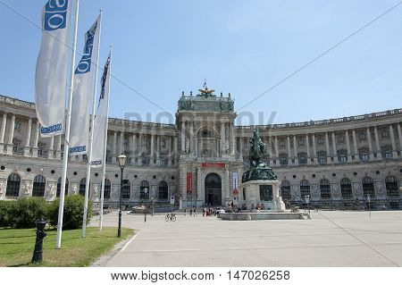 Vienna Austria - 04 July 2015 : Hofburg Imperial Palace - one of the main tourist attractions of Vienna . There is a monument of Prince Eugene of Savoy - general of the Imperial Army and statesman of Holy Roman Empire and Archduchy of Austria in front of