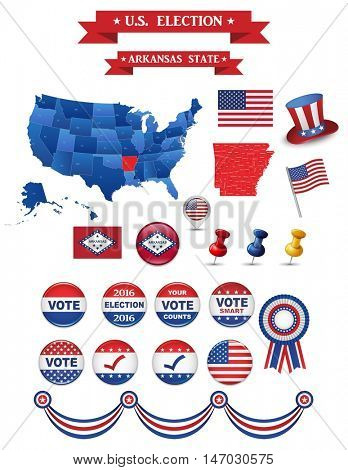US Presidential Election 2016. Arkansas State. Includign High Deatiled Map of Arkansas. Perfect for Election Campaign