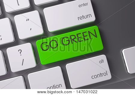 Go Green Concept: Metallic Keyboard with Go Green, Selected Focus on Green Enter Button. 3D Illustration.