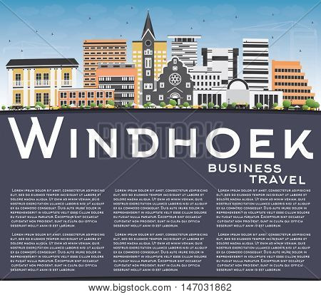 Windhoek Skyline with Color Buildings, Blue Sky and Copy Space. Vector Illustration. Business Travel and Tourism Concept with Modern Buildings. Image for Presentation Banner Placard and Web Site.