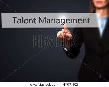Talent Management - Businesswoman Pressing High Tech  Modern Button On A Virtual Background