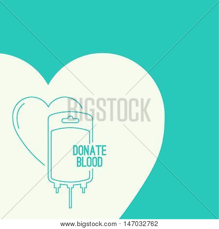 Abstract background with blood bag. Icon donation  with heart. Vector image help the sick and needy. dropper with drop. Poster
