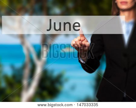 June - Businesswoman Pressing High Tech  Modern Button On A Virtual Background
