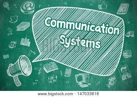 Communication Systems on Speech Bubble. Doodle Illustration of Shrieking Mouthpiece. Advertising Concept.