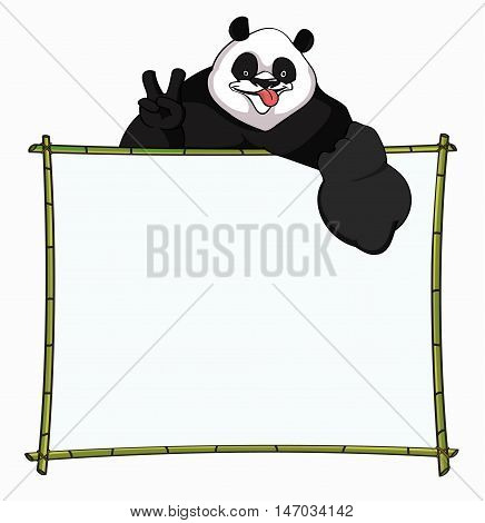 Bamboo Board with merry Panda. Best for websites, blog's boarder, header or informational boards - stock vector