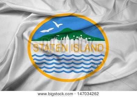 Waving Flag Of Staten Island, New York, Usa