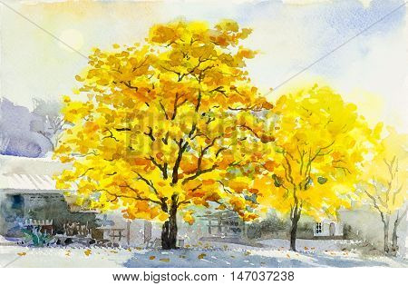 Watercolor painting original yellow color of golden tree flower and Home Street in blue background. Original painting