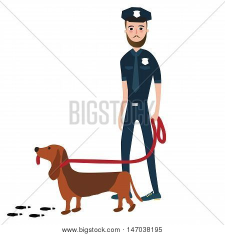 police officer cop with trained dog vector