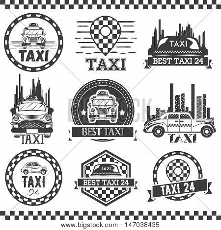 Taxi company labels in vintage style. Design elements, icons, logo, emblems and badges isolated on white background. Cab transportation service.