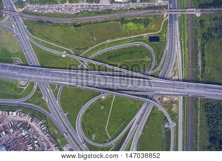 Aerial view on modern road junction