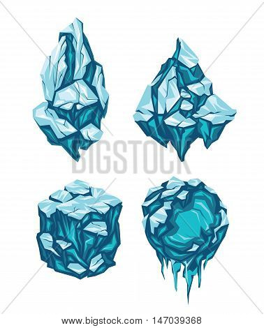 Set of Ice Blocks in Form of Rock, Pyramid, Cube and Sphere. Vector illustration.