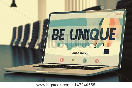 Be Unique on Landing Page of Mobile Computer Screen. Closeup View. Modern Meeting Hall Background. Blurred Image. Selective focus. 3D Render.