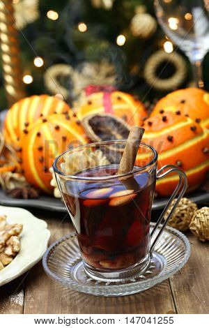 glogg, scandinavian mulled wine, traditional christmas hot beverage