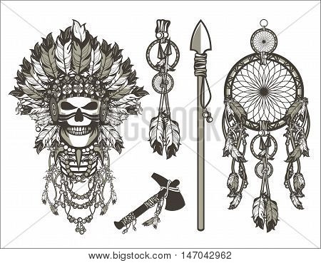 vector illustration design set iniyskaya theme dead leader in boho style