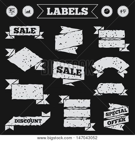 Stickers, tags and banners with grunge. Diagram graph Pie chart icon. Presentation billboard symbol. Supply and demand. Man standing with pointer. Sale or discount labels. Vector