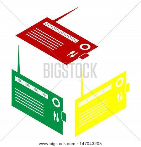 Radio Sign Illustration. Isometric Style Of Red, Green And Yellow Icon.