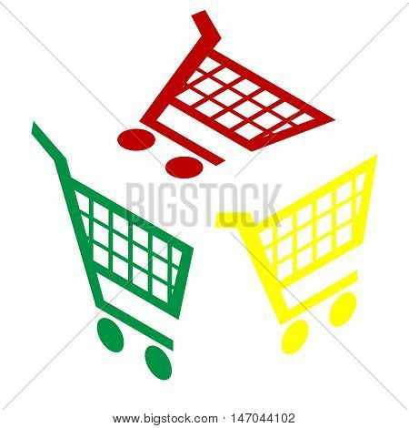 Shopping Cart Sign. Isometric Style Of Red, Green And Yellow Icon.