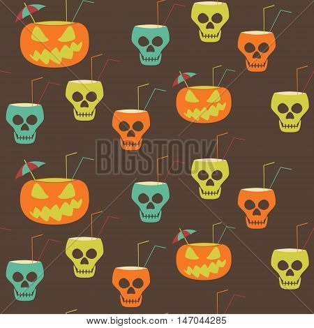 Halloween party seamless pattern. Evil pumpkins and skulls with drinking straws and cocktail umbrellas. Stylish print in brown, orange, blue, green colors. Vector illustration for festive design