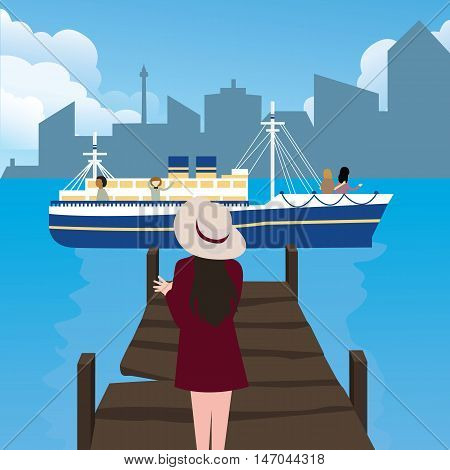 girl woman waiting in harbor port alone ship coming vector