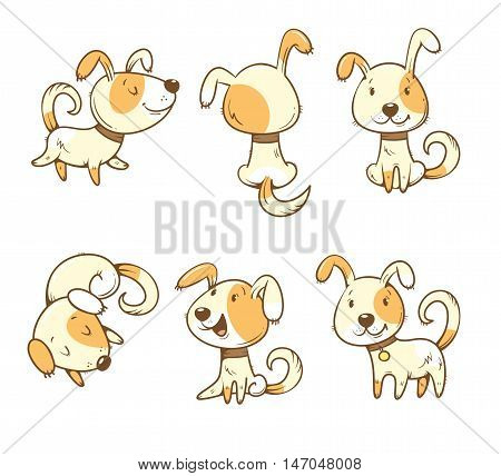 Cute cartoon dogs set. Six little puppies in different poses. Funny animals. Vector colorful contour image. Children's illustration.