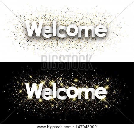 Welcome white paper banner with shining sand. Vector illustration.