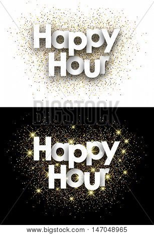 Happy hour paper card with shining sand. Vector illustration.